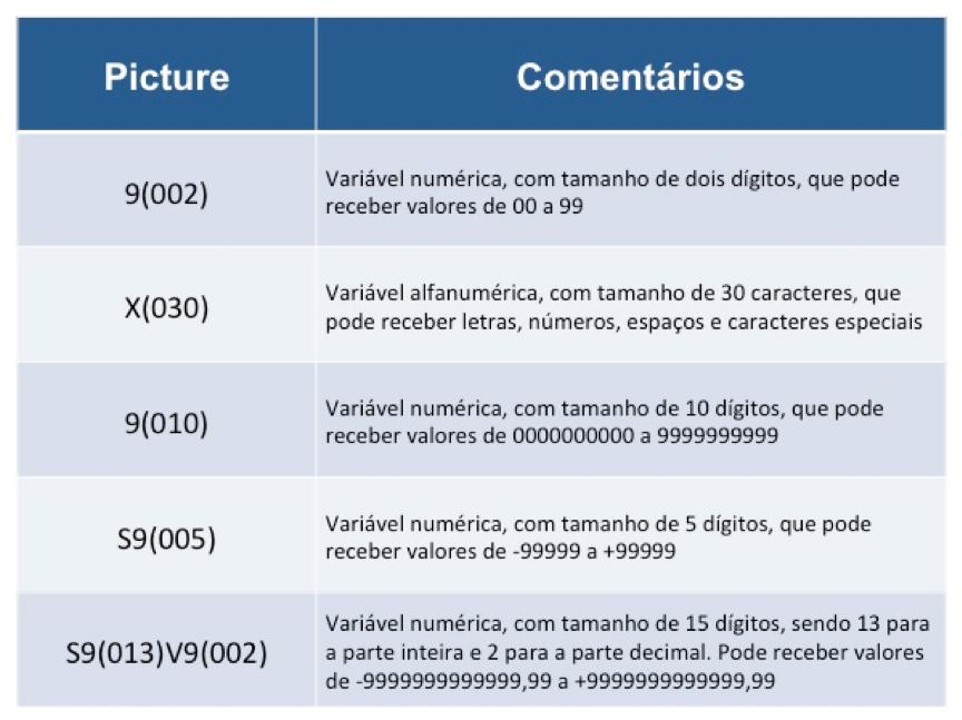 Cobol: Alguns exemplos com a cláusula picture