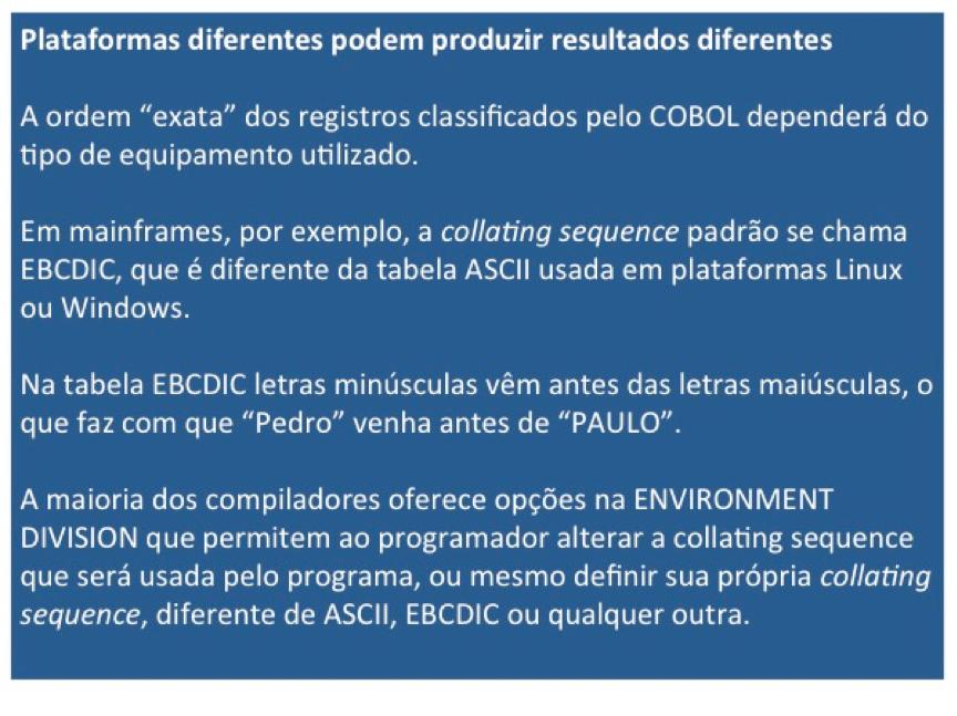 Cobol: Plataformas diferentes podem produzir resultados diferentes