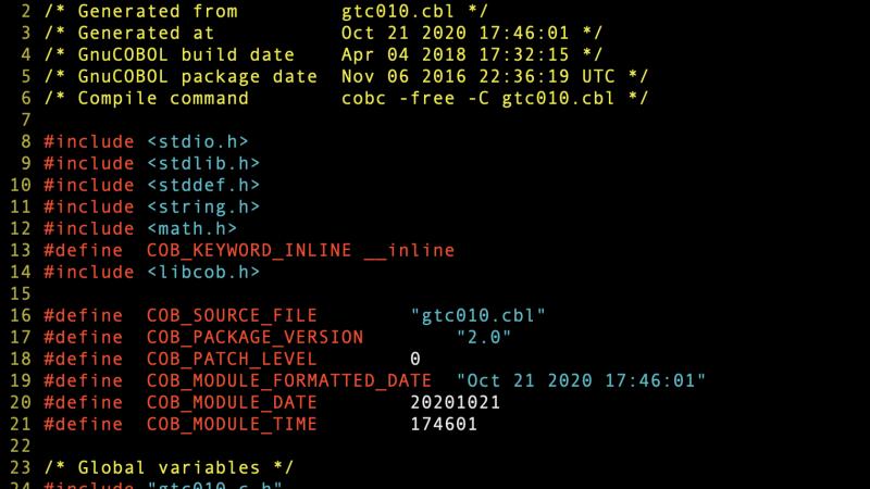 Integração do GnuCOBOL com o C